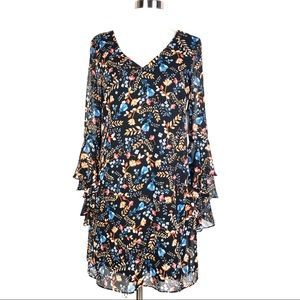 KENSIE shift dress floral chiffon bell sleeve